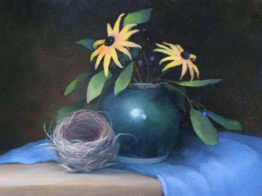 Black Eyed Susans With Nest